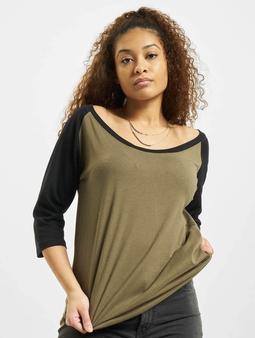 Urban Classics Ladies 3/4 Contrast Raglan T-Shirt Olive/Black