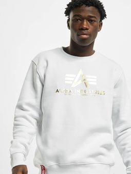 Alpha Industries Basic Foil Print Sweatshirt White/Yellow