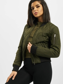 Urban Classics Ladies Diamond Quilt Short Bomber Jacket Dark Olive