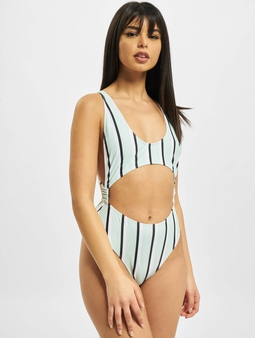 Missguided Stripe Cut Out Swimsuit