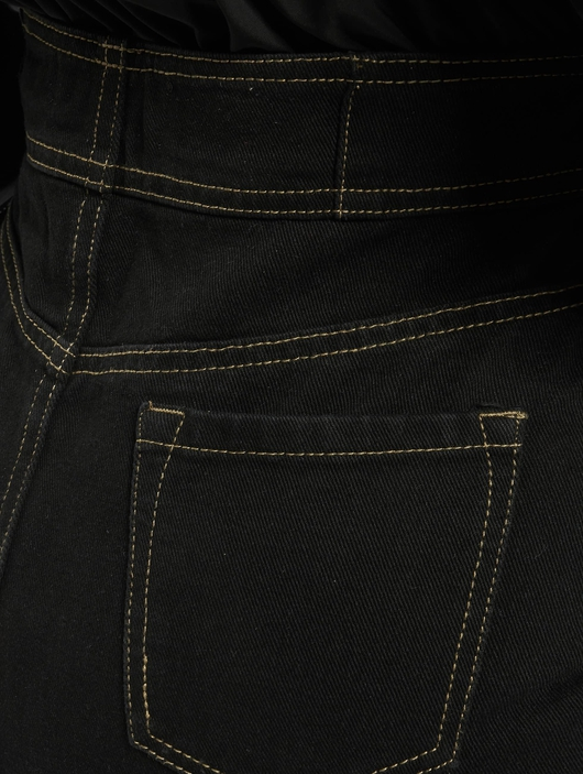 Missguided Corset Waist Denim Black Skirt Black image number 4