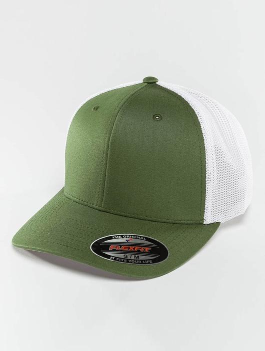 Flexfit Mesh Cotton Twill Trucker Two Tone Cap Buck/White image number 2
