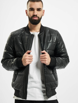 Urban Classics Faux Leather Bubble Bomber Jacket