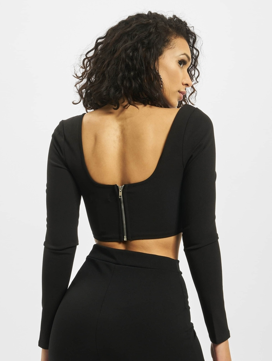 Missguided High Bust Point Long Sleeve Corset Crop Body Black image number 1