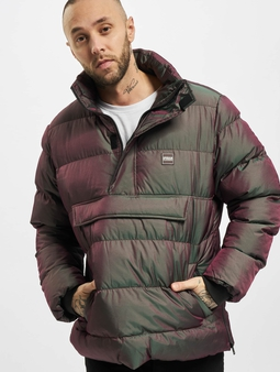 Urban Classics Shimmering Pull Over Puffer Jacket Red Wine