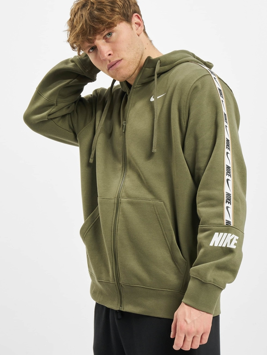 Nike Repeat Fleece Full Zip Hoodie Black/Reflective Silvern image number 2