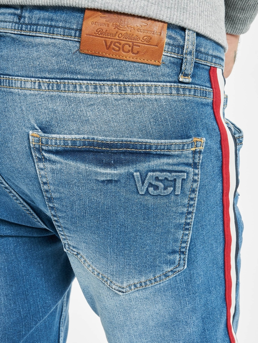 VSCT Clubwear Keanu Multi Colour Stripe Slim Fit Jeans Midblue image number 4