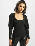 Missguided Rib Puff Sleeve Square Neck Milkmaid Top Black image number 2