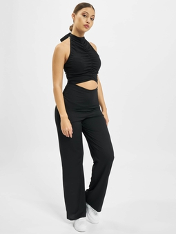 Missguided Rib Ruched High Neck Cut Out Jumpsuit