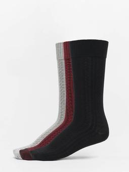 Urban Classics Cosy Jaquard 3-Pack Socks Black/Grey/Burgundy