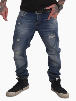 Yakuza Straight Fit Jeans Mid Blue Paint Destroyed