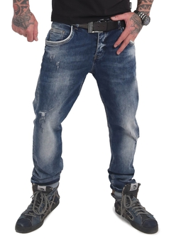 Yakuza Straight Fit Jeans Mid Blue Vintage Destroyed