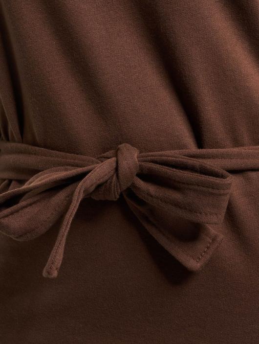 Missguided Tie Belt Midi Sweater Dress Chocolate image number 2