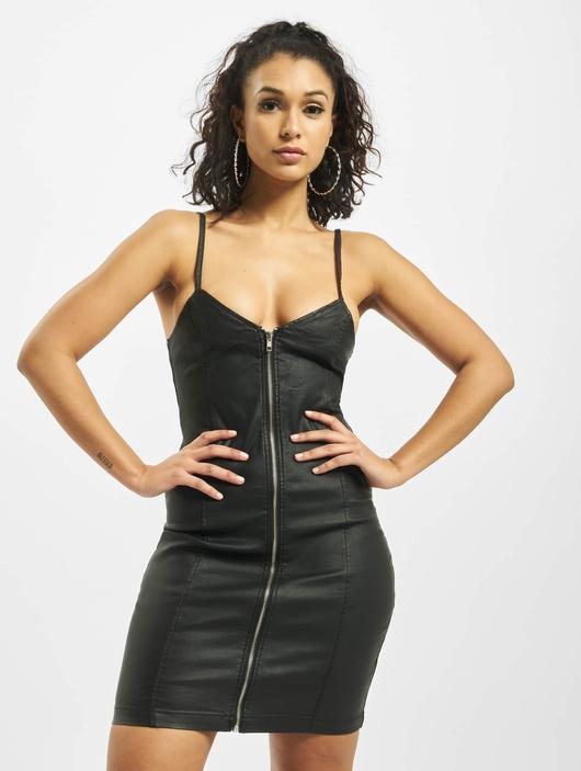 Missguided Coated Zip Through Denim Cami Dress Black image number 2