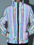 Urban Classics Ladies Iridescent Reflectiv Puffer Jacket Rainbow Darksilver image number 3