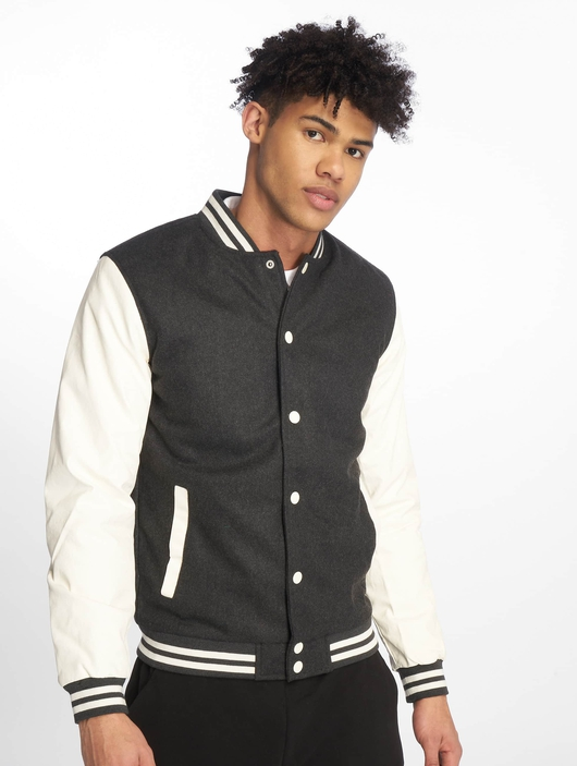 Urban Classics Oldschool College Jacket Charcoal/White (M gr image number 2