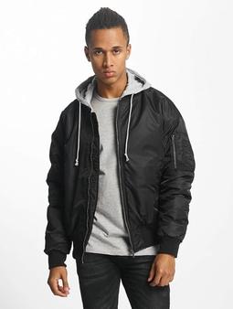 Urban Classics Hooded Bomber Jacket Black/Grey