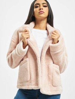 Urban Classics Ladies Oversize Sherpa Lapel Winter Jacket Rosesand