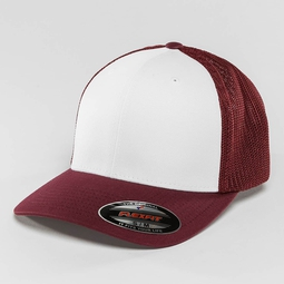 Flexfit Mesh Colored Front Snapback Cap Maroon/White