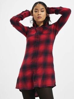 Urban Classics Ladies Check Shirt Dress Dark Blue/Red