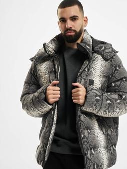 Urban Classics Hooded AOP Puffer Jacket Grey Snake
