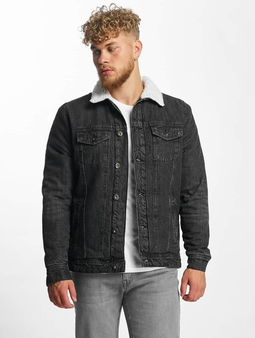 Urban Classics Sherpa Denim Jacket Black Washed