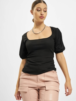 Missguided Rib Puff Short Sleeve Square Neck Milkmaid Top