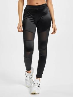 Urban Classics Ladies Shiny Tech Mesh Leggings Black
