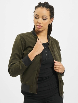 Urban Classics Ladies Nylon Twill Bomber Jacket Dark Olive