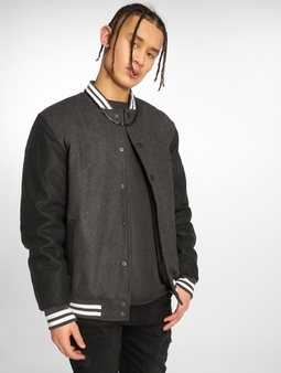 Urban Classics Oldschool 2.0 College Jacket Charcoal/Black/White