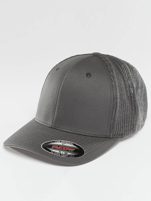 Flexfit Mesh Cotton Twill Trucker Cap Dark Grey image number 0