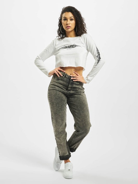 Missguided Baby Tribal Graphic Longsleeve Crop Top White image number 5