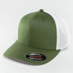 Flexfit Mesh Cotton Twill Trucker Two Tone Cap Buck/White