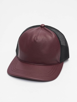 Flexfit Leather Trucker Trucker Cap Maroon/Blk