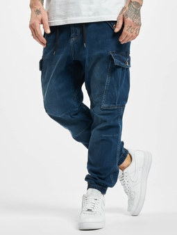 Vsct Clubwear Norman Dnm Baggy Cargo Pants Blue Stoned