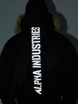 Alpha Industries 45P Hooded Custom Bomber Jacket Black/Refle image number 8