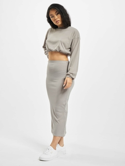 Missguided Coord Rib Crop Top And Skirt Set Grey Marl