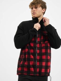 Urban Classics Patterned Polar Fleece Track Jacket Black/Red Check