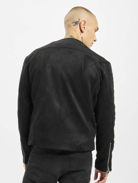 Sixth June Regular Perfecto Suede Fabric Jacket Black image number 1