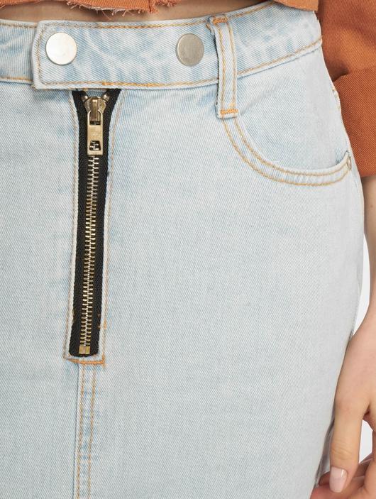 Missguided Double Popper Zip Denim Skirt Light Blue image number 3