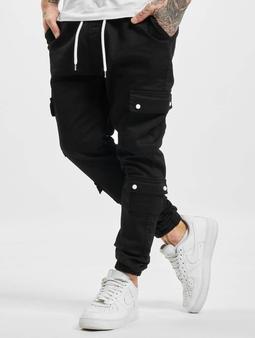 VSCT Clubwear Nexus Straight Cuffed Cargo Pants Black