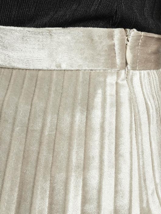 Missguided Tall Velvet Pleated Midi Skirt Silvern image number 3