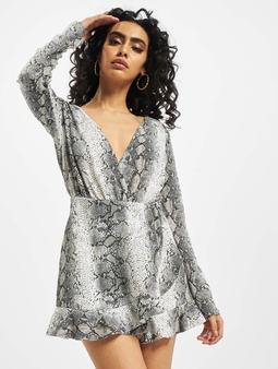 Missguided Snake Print Frill Detail Play Jumpsuit