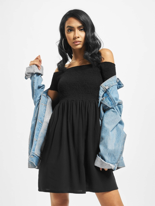 Urban Classics Smoked Off Shoulder Dress Black image number 0