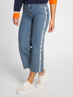 The Ragged Priest Darling Printed High Waist Jeans Blue Grip/White