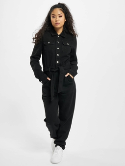 Missguided Button Through Denim Black Jumpsuit