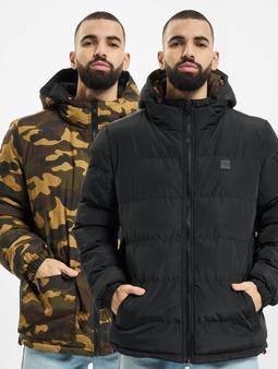 Urban Classics Reversible Hooded Puffer Jacket Black/Woodcamo
