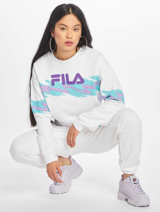 Fila Urban Line Buttoned Justyna Sweatshirt Bright White/Blue Curacao image number 5