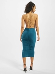 Missguided Slinky Chain Detail Cowl Midi Dress Teal image number 1