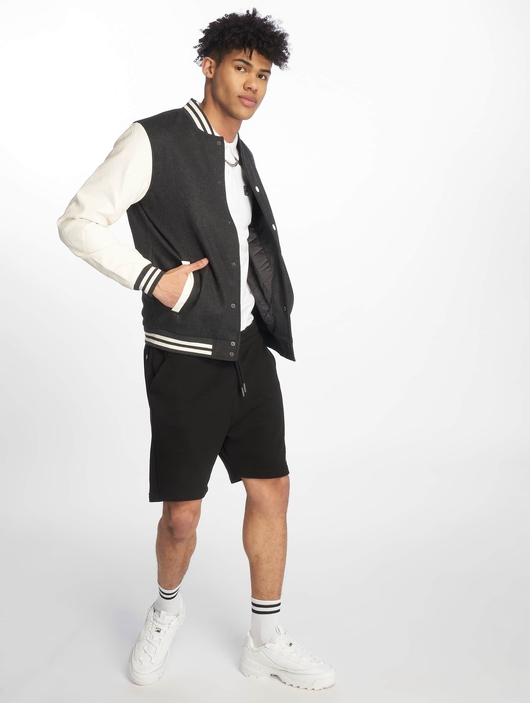 Urban Classics Oldschool College Jacket Charcoal/White (M gr image number 4
